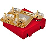 M.G.R.J German Silver Set Of Bowl's With Spoon's And Tray Beautiful Precious Gift (4, Gold And Silver)