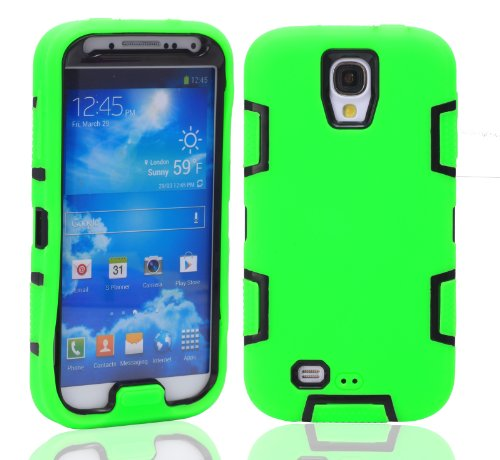 Magicsky Robot Series Hybrid Armored Case For Samsung Galaxy Iiii S4 I9500 - 1 Pack - Retail Packaging - Black/Green