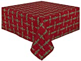 "100% Cotton Red & Green Striped 60x60"" Tablecloth - Garland"