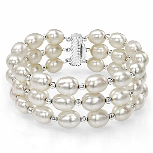Sterling Silver 8-9mm White Cultured Freshwater Pearl 3 Row Bracelet7.25″ with Sterling Silver Beads