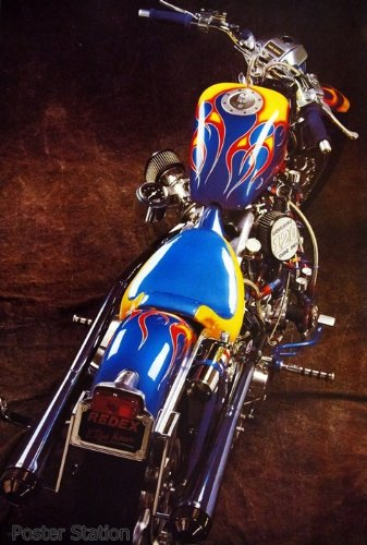 "Harley Davidson ""All American Eagle Fatboy"" Motorcycle Poster#2 – Rare New – Image Print Photo"