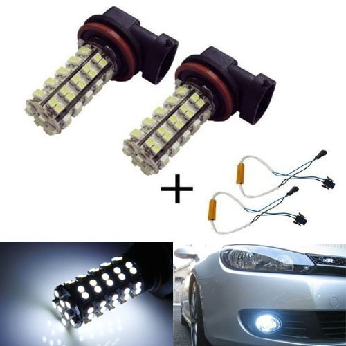 Ijdmtoy 68-Smd H11 Or H8 Led Fog Light Bulbs + Error Free Bypass Wiring Kit, Xenon White