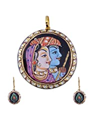 Nimbark Traders Brass And Metal Multi Color Designer Pendent Set With Earrings For Women - B00RFRGMTY