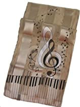 Beige/Tan Piano, Notes & G Clef Satin Stripe Oblong Scarf/Sash/Belt
