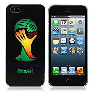 2014 FIFA Brazil World Cup Multi National Logo Hard Case Back Cover For iPhone 5 5S G (Black)