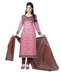 Woman's Pink Cotton Printed Dress Materials (BGD30)