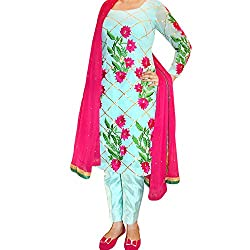 Reet Glamour Women 's Silk & Georgette Unstitched Blue And Magenta Embroidery Suit