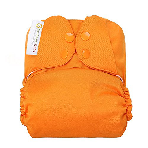 Sunflowerbaby Stay Dry One Size Solid Color Cloth Diaper, Orange