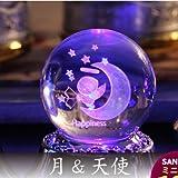 3Dレーザークリスタルボール 18弁オルゴール(アンタレス) 月天使