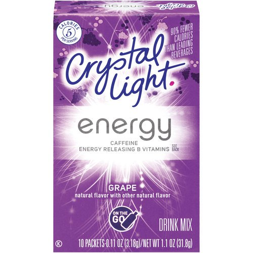 Crystal Light On The Go Energy Grape, 10-Count Boxes (Pack of 10)