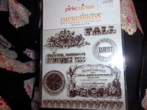 Pink Paislee Impressions Clear Stamps Amber Road 2pcs set embossing folders clear stamps card making acrylic vintage for photo scrapbooking stamp clear stamps for scrapbooking