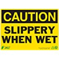 "Zing Eco Safety Sign, Header ""CAUTION"", ""SLIPPERY WHEN WET"", 14"" Width x 10"" Length, Recycled Aluminum, Black on Yellow (Pack of 1)"