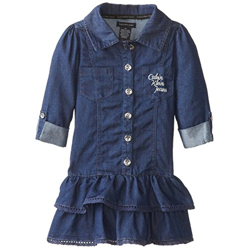 Calvin Klein Little Girls' Tiered Dress, Chambray, 5 front-897859