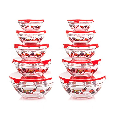 Chef Buddy 82-5758 20-Piece Glass Bowl Set, Clear (5 Piece Glass Bowl Set compare prices)