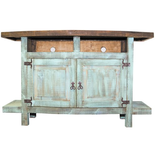 Turquoise 2 Door Tv Stand Flat Screen Console Western Rustic Real Wood front-740557