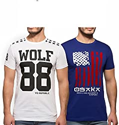 Yo Republic Mens Cotton Tshirt Combo Offer (Pack of 2)(AT-0067-1L_White_Blue_Large)