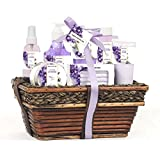 Green Canyon Spa Luxury Wicker Basket Gift Set in Lavender, 8 Pieces Premium Bath and Body Spa Products in Handcrafted Basket