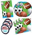 Celebrate Sports Birthday Party Supplies Set Large Plates Napkins Tablecover Kit for 16 Plus Stickers
