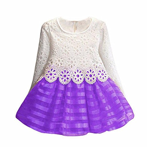 Usstore 1PC Girls Kids Lace Long Sleeve Princess Dress Girls clothing (130cm-5-6Y, Purple ) (Dress Maker Pant Forms compare prices)