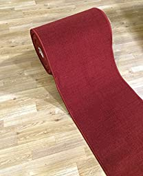 Custom Size RED Solid Plain Rubber Backed Non-Slip Hallway Stair Runner Rug Carpet 22 inch Wide Choose Your Length 22in X 8ft