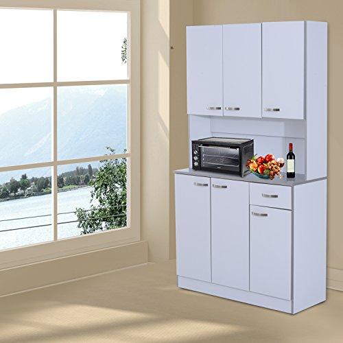 HOMCOM - Armadio con Pensili da Cucina in Legno 101 x 39 x 180cm Bianco