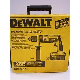 DEWALT DC989KA 18-Volt Ni-Cad 1/2-Inch Cordless Hammer Drill/Driver Kit with Pistol Grip