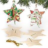 Décorations pour sapin de Noël Étoiles 3D en bois que les enfants pourront personnaliser et suspendre (Lot de 6)...
