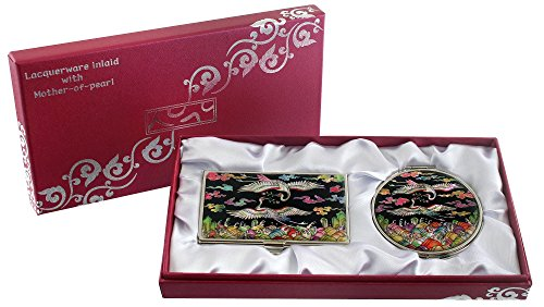 Mother Of Pearl Compact Mirror Business Credit Name Card Holder Set Stainless Steel White Pine Tree & Crane Design front-421328