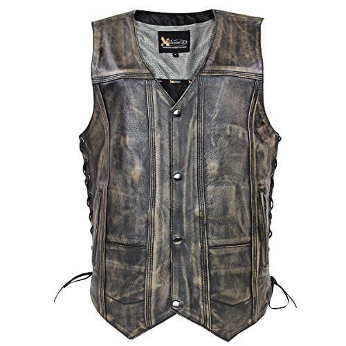 Xelement Mens Ten Pocket Distressed Brown Leather Vest With Gun Pocket - 3X-Large