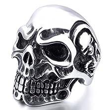 buy Men'S Stainless Steel Rings Silver Black Skull Bone Gothic Vintage Biker Size10