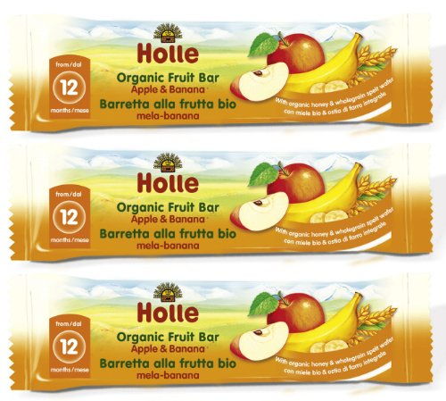 Holle Organic Snacks - Apple and Banana Fruit Bars - Multi-pack, 3 x 25g
