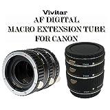 Set 3 tubos de extensión macro Vivitar  para canon, color negro (VIV-EXT-C).