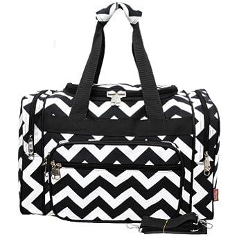 Small White & Black Chevron Print Carry on Duffle Bag (black)
