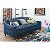 Millbank Tufted Sofa Sleeper, Navy Velour