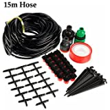 Generic 15m 50ft Gardening Plant Micro Drip Irrigation System Patio Atomization Micro Sprinkler Cooling Kit