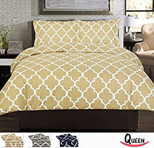 Utopia Bedding Printed Duvet Cover Set - Super Soft Classic Print HIGH QUALITY 100% Brushed Microfiber Premium Bedding Collections - Wrinkle, Fade, Stain Resistant - Hypoallergenic -3 Piece Set - Duvet Cover and 2 Pillowcases - Best For Bedroom, Guest Room, Childrens Room, RV, Vacation Home (Beige, Queen)
