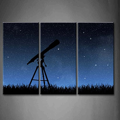 3 Panel Wall Art Blue Telescope Under The Night Sky Painting Pictures Print On Canvas Abstract The Picture For Home Modern Decoration Piece (Stretched By Wooden Frame,Ready To Hang)
