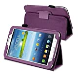 New Pu Leather Folio Smart Case Cover for Samsung Galaxy Tab 3 T211 7.0 7 Inch Tablet (Purple)