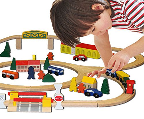 train set kids toy tracks sets wooden little town holiday birthday gift 100 pc ebay. Black Bedroom Furniture Sets. Home Design Ideas