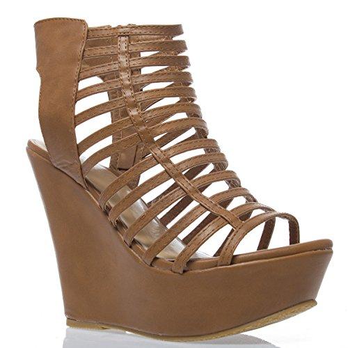 V-Luxury Womens 32-Mariela63 Open Toe High Heel Wedge Platform Sandal Pump Shoes, Tan Pu Leather, 9 B (M) Us front-461361