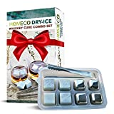 Whiskey Stones Combo Set, Dry-Ice Gift Set, Stainless Steel...