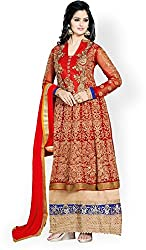 Shayona Enterprise Women's Brocade & Georgette Unstitched Dress Material (kimora-red_Red_Free Size)