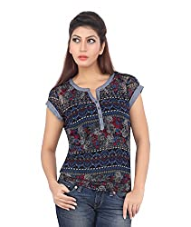 Liwa Blue Polyester Tops For Women