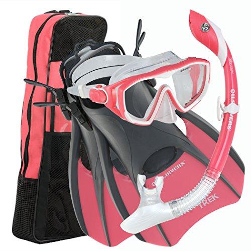 U.S. Divers Diva 1 LX/Island Dry LX/Trek/Travel Bag Combo, Coral,