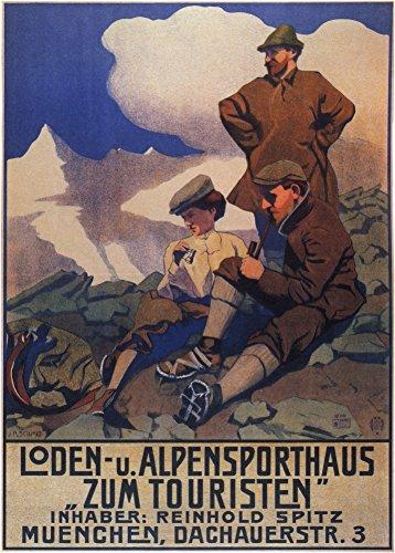 Vintage abiti e accessori Loden Alpi Abbigliamento sportivo per turisti, Monaco, Germania C1905250gsm Lucido Art poster A3di riproduzione