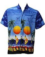La Leela Dark Blue Coconut Tree Aloha Surf Beach Hawaiian Shirt For Men