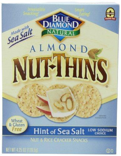 Blue Diamond Growers - Almond Nut-Thins Nut & Rice Cracker Snacks Hint Of Sea Salt - 4.25 Oz.