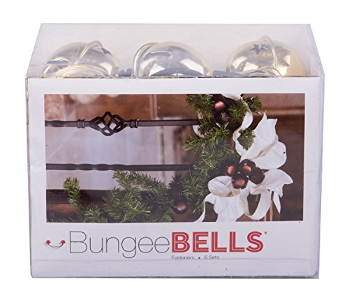 """Christmas Holiday Metallic Jingle Bell Decoration Fasteners - Set of 6 2.5"""" Metallic Bells with Bungee Cord - (Gold)"""