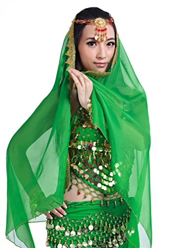 Dreamspell Hot Sexy Dark Green Indian Style Dancer Belly Dance Suit Stage 5pcs