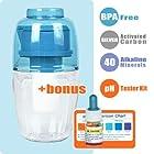 WATERMAN Portable Alkaline Water Purifier, 2.5 Cup (0.6 Liters) with Water pH Testing Kit